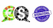Collage International Payments Icon And Grunge Stamp Seal With International Caption. Mosaic Vector  poster