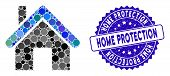 Mosaic Home Icon And Rubber Stamp Seal With Home Protection Text. Mosaic Vector Is Created With Home poster