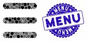 Mosaic Menu Items Icon And Grunge Stamp Watermark With Menu Text. Mosaic Vector Is Designed With Men poster