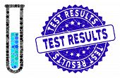 Mosaic Test Tube Icon And Distressed Stamp Seal With Test Results Text. Mosaic Vector Is Formed With poster