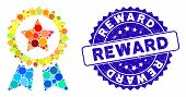 Collage Reward Seal Icon And Grunge Stamp Seal With Reward Caption. Mosaic Vector Is Composed With R poster