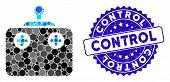 Mosaic Remote Control Icon And Distressed Stamp Seal With Control Caption. Mosaic Vector Is Designed poster