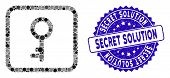 Mosaic Key Icon And Rubber Stamp Seal With Secret Solution Text. Mosaic Vector Is Designed With Key  poster