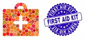 Mosaic First Aid Icon And Rubber Stamp Seal With First Aid Kit Phrase. Mosaic Vector Is Designed Wit poster