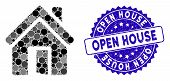 Mosaic Open House Door Icon And Distressed Stamp Watermark With Open House Text. Mosaic Vector Is Co poster