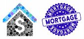 Mosaic Loan Mortgage Icon And Corroded Stamp Seal With Mortgage Phrase. Mosaic Vector Is Composed Fr poster