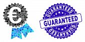 Mosaic Euro Warranty Seal Icon And Rubber Stamp Seal With Guaranteed Phrase. Mosaic Vector Is Compos poster