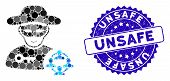 Mosaic Social Hacker Icon And Corroded Stamp Seal With Unsafe Phrase. Mosaic Vector Is Designed From poster