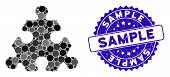 Mosaic Hex Puzzle Item Icon And Distressed Stamp Seal With Sample Text. Mosaic Vector Is Designed Wi poster