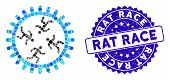 Mosaic Rat Race Gear Icon And Corroded Stamp Watermark With Rat Race Text. Mosaic Vector Is Designed poster