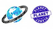 Mosaic Ringed Planet Icon And Rubber Stamp Watermark With Planet Caption. Mosaic Vector Is Formed Wi poster