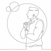 One Continuous Drawing Line Male Astrophysicist Astronomer Scientist Talks About Planets And Space P poster