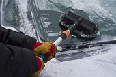 Hands  In Gloves Removing Ice And Snow From A Car Windshield With Scraper poster