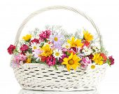 picture of wildflowers  - beautiful bouquet of bright  wildflowers in basket - JPG