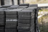 Stack Of Paving Stone On Construction Site. Bricks For Paving Stones Stacked In Stacks, Background T poster