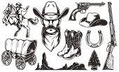 Vintage Wild West Elements Set With Cowboy Head Hat Boots Flint Arrowhead Old Wagon Rifle Gun Horses poster