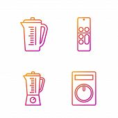 Set Line Remote Control, Blender , Measuring Cup And Remote Control . Gradient Color Icons. Vector poster
