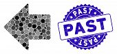 Mosaic Arrow Left Icon And Rubber Stamp Watermark With Past Phrase. Mosaic Vector Is Composed With A poster