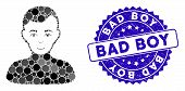 Mosaic Boy Icon And Distressed Stamp Seal With Bad Boy Caption. Mosaic Vector Is Formed With Boy Ico poster