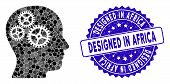 Mosaic Brain Gears Icon And Corroded Stamp Seal With Designed In Africa Caption. Mosaic Vector Is De poster