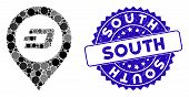 Mosaic Dash Map Pointer Icon And Rubber Stamp Seal With South Phrase. Mosaic Vector Is Created With  poster