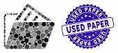 Mosaic Document Folder Icon And Distressed Stamp Seal With Used Paper Caption. Mosaic Vector Is Form poster