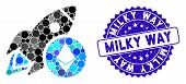 Collage Ethereum Rocket Icon And Rubber Stamp Seal With Milky Way Phrase. Mosaic Vector Is Formed Wi poster
