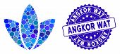 Mosaic Flower Icon And Corroded Stamp Watermark With Angkor Wat Caption. Mosaic Vector Is Formed Wit poster