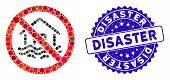 Mosaic No Flood Disaster Icon And Corroded Stamp Watermark With Disaster Phrase. Mosaic Vector Is Co poster