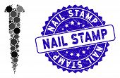 Mosaic Screw Icon And Grunge Stamp Seal With Nail Stamp Caption. Mosaic Vector Is Designed With Scre poster