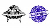 Mosaic Space Ship Icon And Rubber Stamp Watermark With Mission Possible Phrase. Mosaic Vector Is Des poster