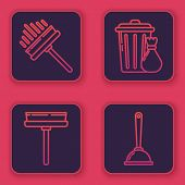 Set Line Squeegee, Scraper, Wiper, Squeegee, Scraper, Wiper, Trash Can And Garbage Bag And Toilet Pl poster