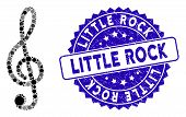 Collage Treble Clef Icon And Grunge Stamp Seal With Little Rock Phrase. Mosaic Vector Is Created Wit poster