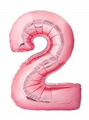 Number 2 Two Made Of Rose Gold Inflatable Balloon Isolated On White Background. Discount And Sale, B poster