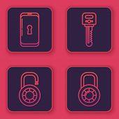 Set Line Smartphone With Lock , Safe Combination Lock Wheel , Key And Safe Combination Lock Wheel .  poster