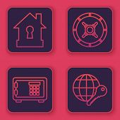 Set Line House Under Protection , Safe , Safe And Globe Key . Blue Square Button. Vector poster