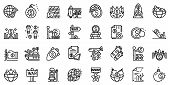 Trade War Icons Set. Outline Set Of Trade War Vector Icons For Web Design Isolated On White Backgrou poster