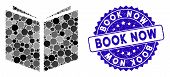 Mosaic Book Icon And Corroded Stamp Watermark With Book Now Phrase. Mosaic Vector Is Designed With B poster