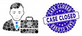 Mosaic Iota Accounter Icon And Rubber Stamp Seal With Case Closed Text. Mosaic Vector Is Composed Wi poster