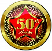 Golden 50 Th Birthday button
