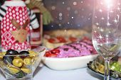 Holiday Table Setting. Festive Table With Delicious Dishes. Many Food On Table For Family Holidays.  poster