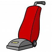 Vacuum Cleaner - A Cartoon Illustration Of A Vacuum Cleaner. poster