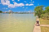 Vienna. Danube River Coastline Colorful View In Vienna, Capital Of Austria poster