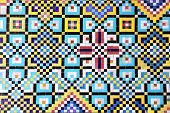 Detail of traditional persian mosaic wall with geometrical ornament in Golestan palace (Marble Palac poster