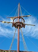 foto of tall ship  - Mainmast of a Spanish galleon with his scales and sails - JPG