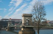 Beautiful View Of The Chain Bridge Over The Danube In Budapest, Hungary poster