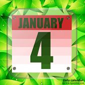 January 4 Icon. Calendar Date For Planning Important Day With Green Leaves. Fourth Of January. Illus poster
