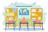 Geography Classroom Interior Indoor School Modern Flat Vector Illustration. Learning And Teaching. E poster
