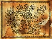 Heraldic Drawing With Deer And Rooster Bird On Texture Background. Hand Drawn Engraved Illustration  poster