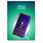 Poster With Infographics Of Wireless Charging Technology. Battery Icon And Progress Charging The Bat poster